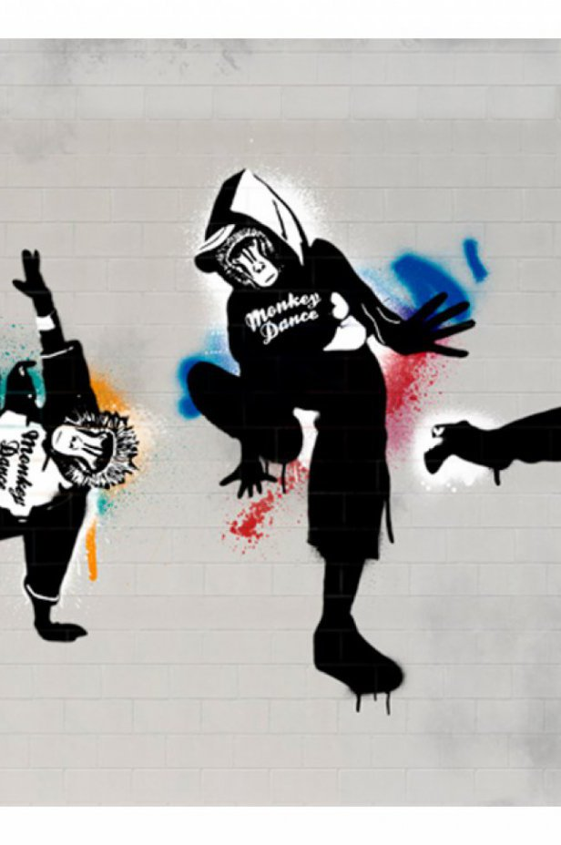 Street art Fototapeta - Monkey dance - street art