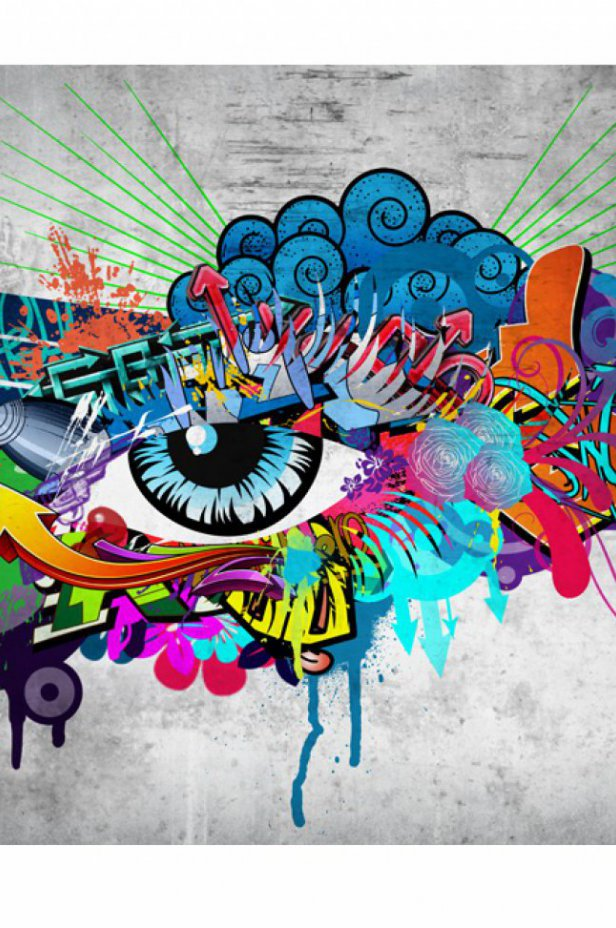 Street art Fototapeta - Graffiti eye