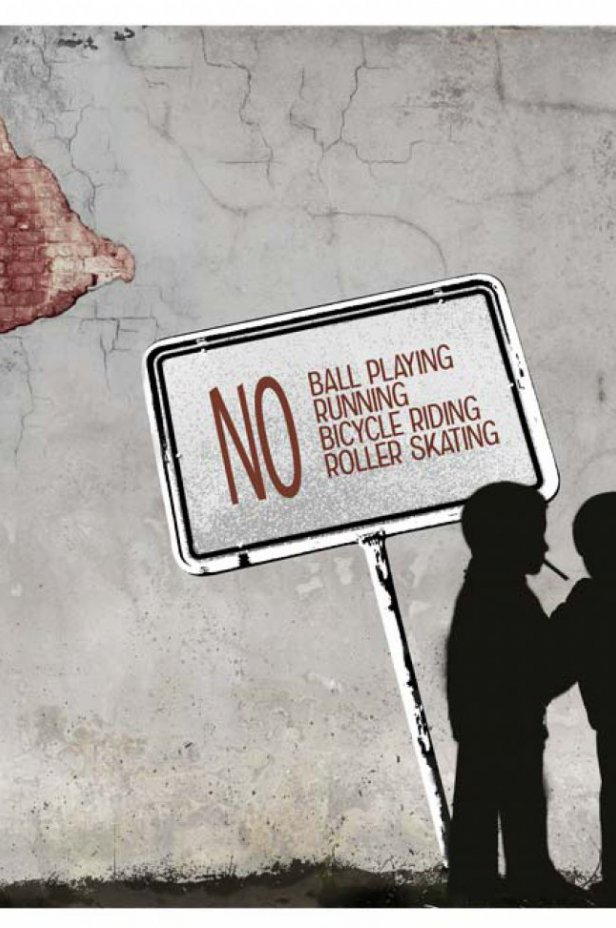 Street art Fototapeta - NO ball playing...