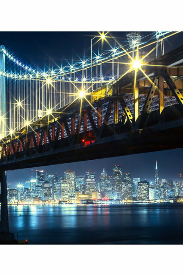 San Francisco Fototapeta - Bay Bridge nocą