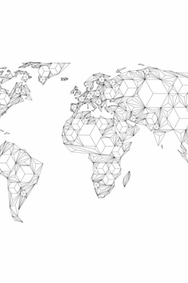 Mapy świata Fototapeta XXL - Map of the World - white solids